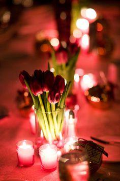 simple red tulip centerpiece