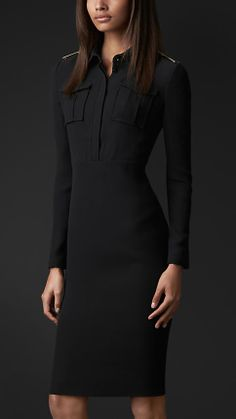 Metal Epaulette Silk Shirt Dress | Burberry