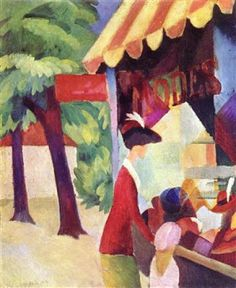 August Macke - In front of the hat shop (woman with red jacket and child) - 1913