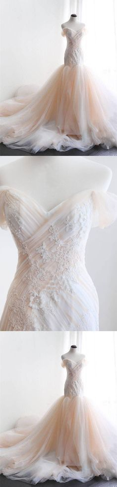 Mermaid Wedding Dresses,Off-the-shoulder wedding dress,Sweep Train wedding dress,Appliques wedding dress,Tulle wedding dress,Sexy Bridal Gown #annapromdress #weddingdress #wedding #bridalgown #BridalGowns #cheapweddingdress #fashion #style #dance #bridal