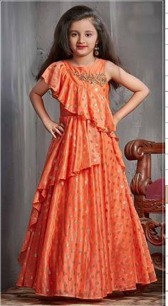 Latest Kids Gown Dress Kids Wear Indian Shine Orange Designer Gowns For Girls – KinderMode Kids Party Wear Dresses, Kids Dress Wear, Designer Party Wear Dresses, Dress Up, Designer Gowns, Gown Dress, Kids Wear, Dress Girl, Gowns For Girls