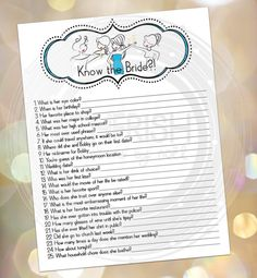 Know the Bride - Bridal Shower Game - Bachelorette Party - Lingerie Shower - Funny Game Wedding this looks fun for your bachelette party Bachelorette Lingerie Party, Bridal Lingerie Shower, Bridal Showers, Bachelorette Games, Best Friend Wedding, Sister Wedding, Dream Wedding, Wedding Shower Games, Wedding Games