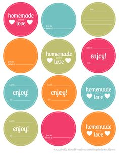 Free Mason Jar printable labels.
