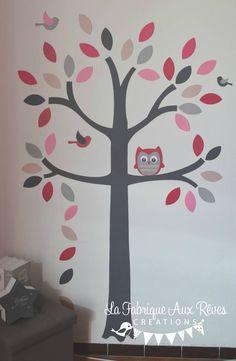 stickers arbre gris rose poudré rose fuchsia fraise chamalow hibou chouette oiseaux feuilles - décoration chambre bébé rose poudré gris fuchsia chamalow fraise