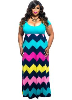 Plus Size Solid Color Top Multicolor Zigzag Maxi Dress_Plus size Dress_Plus size Clothing_Sexy Lingeire | Cheap Plus Size Lingerie At Wholesale Price | Feelovely.com