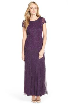 Pisarro Nights Beaded Mesh A-Line Gown (Regular & Petite) available at #Nordstrom