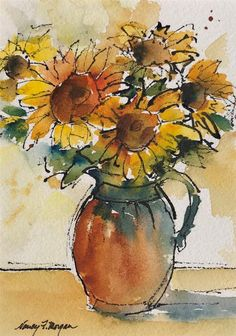 "Daily Paintworks - ""Sunflowers"" - Original Fine Art for Sale - © Nancy F. Watercolor Sunflower, Pen And Watercolor, Watercolor Artwork, Watercolor Flowers, Sunflower Paintings, Watercolor Pictures, Watercolor Projects, Autumn Painting, Flower Art"
