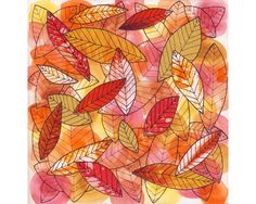 Fall leaves art print, red, orange, yellow, leaf collage, watercolor painting, ink drawing, sketchbook art, autumn color, bright wall decor from SmilingCatStudio