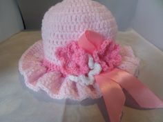 Little girls frilled brim hat Brim Hat, Girl With Hat, Ribbon Bows, Little Princess, Crochet Flowers, No Frills, Pink Color, Summer Wedding, Little Girls