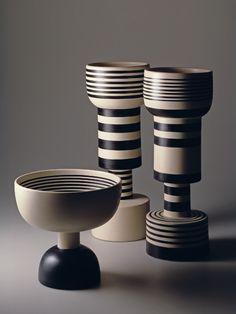 Ettore Sottsass: three ceramic vases, 1982 for Sestante (reedition of vases designed by Sottsass in the 1950's) © Aldo Ballo + Marirosa Toscani Ballo, Milano 1982