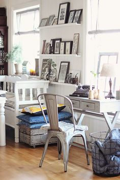Tolix chair in home office (Grey tolix with cushion)
