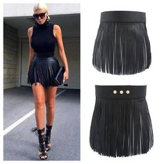 This fringe belt is the perfect addition to any outfit. Faux leather with snap buttons to fit sizes small - large. In stock