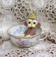 Artist Bear OOAK Crocheted Thread Teddy Monkey Miniature Doll Amigurumi Crochet Mini
