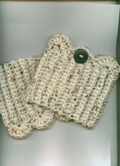 Crocheted Boot Cuffs/Toppers Skate Cuffs/Toppers ARAN by Kountry- 13.00 - with black button