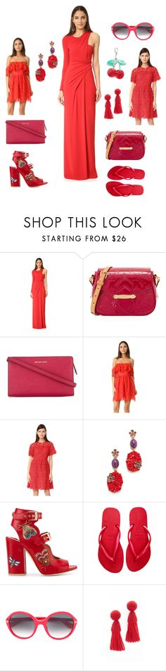 """""""Red Fashion"""" by emmamegan-5678 ❤ liked on Polyvore featuring Alexander Wang, MICHAEL Michael Kors, Lovers + Friends, Giambattista Valli, Oscar de la Renta, Laurence Dacade, Havaianas, Gucci, Edie Parker and vintage"""