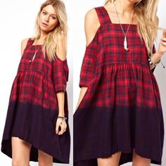 NWT ASOS FLANNEL OMBRÉ OFF-SHOULDER DRESS Great for fall and winter! Super cute! Runs big! Size 0 but is a true small ASOS Dresses