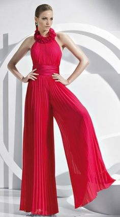 Fashion red Chiffon mother of the Wedding party Jumpsuits - Prom Pantsuits - Prom Dresses Dressy Jumpsuits Evening Wear, Jumpsuit Dressy, Fancy Jumpsuits, Halter Jumpsuit, Red Jumpsuit, Cheap Prom Dresses, Homecoming Dresses, Bridal Dresses, Bridesmaid Dresses