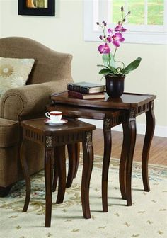 D Art Mahogany Home Living Room Valencia Nesting Table Set Of 2 Pcs Collections