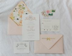 Vintage floral invitations. Photo by Emilia Jane Photography