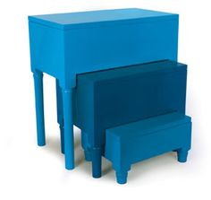 super chic nesting tables with hidden storage.