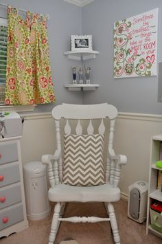 Project Nursery - White Rocking Chair and Floral Curtains - Project Nursery