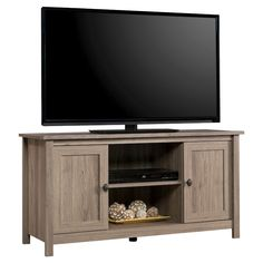 County Line Panel 2 Door TV Stand - Salt Oak - Sauder, Brown