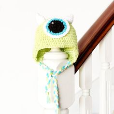 "Keep your little ones head warm this year with a adorable ""Mike Wasowski Baby Hat""! Free crochet pattern available!"