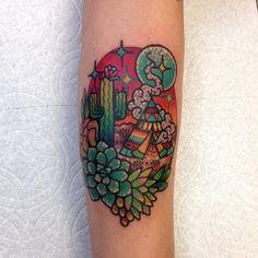Desert tattoo by Roberto Euán. #colorful #girly #sparkles #sparkly #glittery #pretty #RobertoEuan #goldlagrimas #desert #cactus #tent