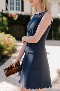 Navy Scalloped Dress: Preppy Fashion Inspiration by Kelly in the City