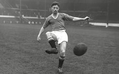 """Roger Byrne Captain of """"The Babes"""". A great competitor with explosive pace and adventurous play. played 33 successive games for England. Died (2) days short of his 29th birthday in the Munich Air Disaster."""