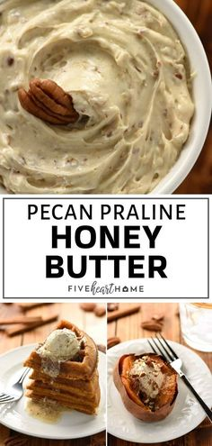 This Pecan Praline Honey Butter is the perfect spread for dinner rolls, pancakes. - Danya Stevens This Pecan Praline Honey Butter is the perfect spread for dinner rolls, pancakes. This Pecan Prali Honey Recipes, Fall Recipes, Sweet Recipes, Real Food Recipes, Holiday Recipes, Cooking Recipes, Yummy Food, Pecan Recipes, Flavored Butter