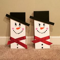 Hand painted wooden snowmen by Ragsncrafts on Etsy https://www.etsy.com/listing/256280445/hand-painted-wooden-snowmen