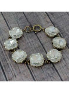 Chunky Clear Crystal and Burnished Goldtone Bracelet #designerinspired #crystalbracelet