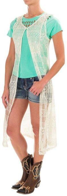 Wrangler Crocheted Duster Vest (For Women)