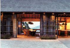 Sliding glass doors- Bond Winery in Oakville, CA Backen, Gillam  Kroeger Architects