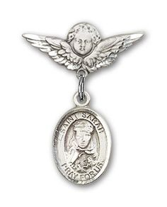 ReligiousObsession's Sterling Silver Baby Badge with St. Sarah Charm and Angel with Wings Badge Pin * To view further for this item, visit the image link. (This is an affiliate link) #NiceJewelry