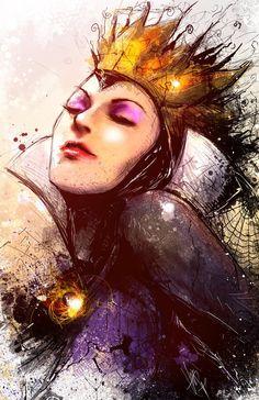 Queen Grimhilde (Snow White and the Seven Dwarfs) #disney #art #villains