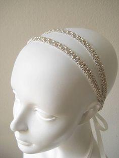 Bridal beaded ivory pearl/crystal wedding headband  by IngenueB, $80.00