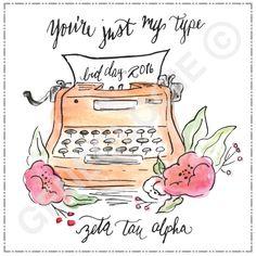 You're just my type. Geneologie | Greek Tee Shirts | Greek Tanks | Custom Apparel Design | Custom Greek Apparel | Sorority Tee Shirts | Sorority Tanks | Sorority Shirt Designs  | Sorority Shirt Ideas | Greek Life | Hand Drawn | Sorority | Sisterhood | Bid Day | Watercolor | ZTA | Zeta Tau Alpha | Typewriter | Floral | Vintage