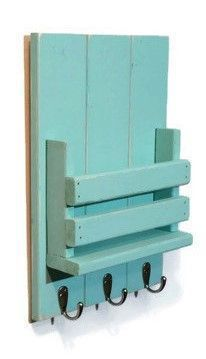 """Collect your keys, tablets, mail and more in this stylish Mail Station with Hooks - 10 1/2"""" x 15"""". Made of sturdy wood with a rustic vibe and distressed finish, this handy shelf was inspired by vintag #diyplayhouse"""