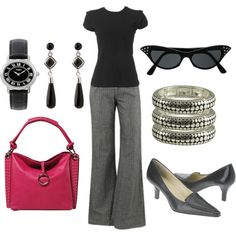 Black and Grey with a dash of pink - this is SUCH a great look...for a fancy day...at TCH