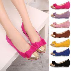 Womens Elegant Gold Toe Bow Flats