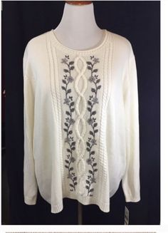 ALFRED DUNNER Sweater Size 3X  Cream embroidered  Cable  Womens NWT #ALFREDDUNNER #Sweater #Career