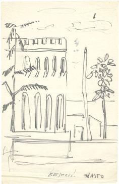 E. Besozzi pitt.s.d. (1957) Vasto castello pennarello su carta velina cm. 22x14 arc. 510