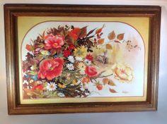 Vintage Floral Print with Deer by Jenkins in Wood Frame Beautiful Colors