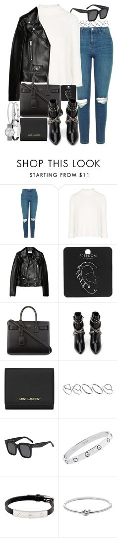 """""""Sin título #3798"""" by hellomissapple ❤ liked on Polyvore featuring Topshop, Yves Saint Laurent, ASOS, CÉLINE, Cartier, Michael Kors and Marc by Marc Jacobs"""