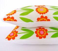New Scandinavian Flower Linen Fabric Cushion Pillow by Janefoster