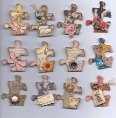 Altered puzzle pieces by scrappermama - Cards and Paper Crafts at Splitcoaststampers Puzzle Peice, Puzzle Piece Crafts, Borboleta Diy, Puzzle Jewelry, Puzzle Party, Fun Crafts, Paper Crafts, Candy Cards, Fabric Paper