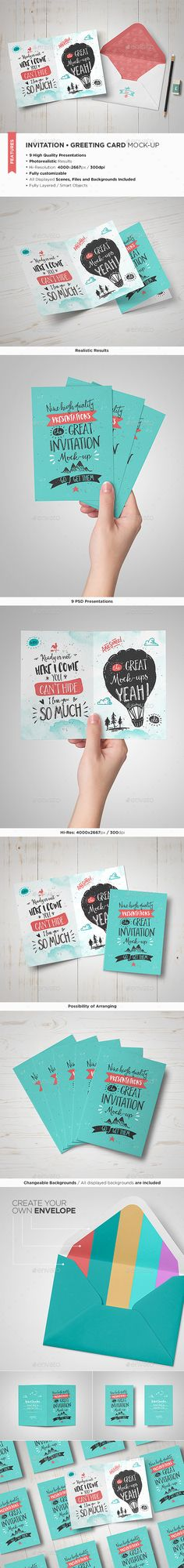 Invitation / Greeting Card Mock-Up #design Download: http://graphicriver.net/item/invitation-greeting-card-mockup/13067421?ref=ksioks
