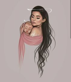Girls Motivational Quotes, life changing quotes and Best Animation pictures. Cute Girl Drawing, Baby Drawing, Girl Cartoon, Cartoon Art, Kylie Jenner Drawing, Mother Daughter Art, Pregnancy Art, Girly M, Girly Drawings